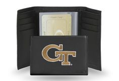 Georgia Tech Yellow Jackets Team Embroidered Leather Trifold/Wallet