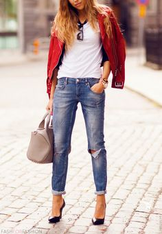 Torn jeans/ White T/Red jacket & heals