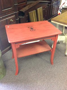 Painted Red Hall Table. Hand Painted Designs.