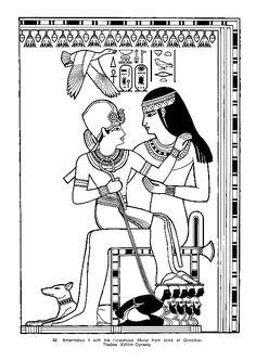 Coloriage d'une nourrice égyptienne.