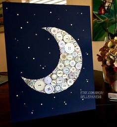 11x14 Gamma Phi Beta Baby Nursery Crescent Moon and Stars Button art Button Moon Custom Wall Art