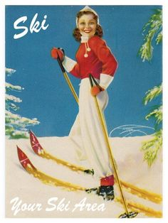 Ski bunny pin up girl poster Ski Bunnies, Bunny, Vintage Ski Posters, Rolf Armstrong, Paris Images, Winter Images, Vintage Winter, Poster S, Cross Country Skiing
