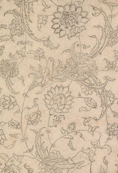 A Spirited Arabesque (detail). Bijapur, Deccan, India, circa Brush drawing on paper. Asia Week New York Islamic Art Pattern, Pattern Art, Traditional Paintings, Traditional Art, Textile Prints, Textile Patterns, Pottery Painting Designs, Brush Drawing, Mughal Paintings