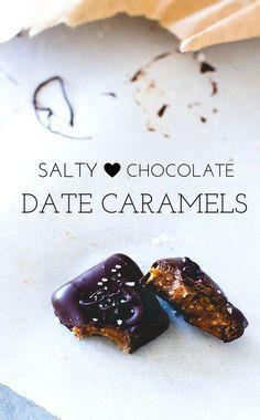 Salty Chocolate Date Caramels // paleo + vegan Raw Desserts, Paleo Dessert, Gluten Free Desserts, Healthy Desserts, Raw Food Recipes, Sweet Recipes, Delicious Desserts, Yummy Food, Raw Dessert Recipes