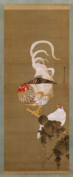 Itô Jakuchû  (Japanese, 1716–1800) | Hen and Rooster with Grapevine, Edo period (1615–1868), 1792,  Hanging scroll; ink and colour on silk. The Metropolitan Museum of Art, NY.