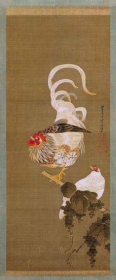 伊藤若沖筆 葡萄双鶏図 Hen and Rooster with Grapevine. Itō Jakuchū (Japanese, 1716–180o)…