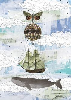 Collage Kunst, Hot Air Balloon Abbildung, Whale Art Mischtechnik Reproduktion, 5 x 7. Drucken-2207