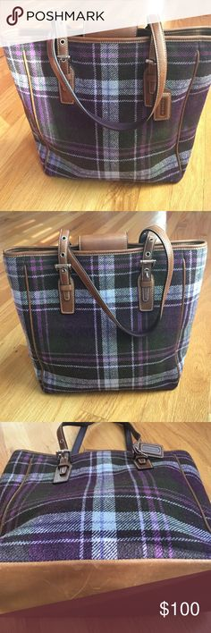 """Coach purple plaid bag with brown leather trim Coach flannel bag in a purple plaid with brown leather trim and brown leather base. Dual shoulder straps are adjustable with reversible (purple/brown) leather. Snap closure, two interior cell phone pockets, one zippered patch pocket, and ring. 10.5"""" wide by 10.5"""" tall by 3.5"""" deep. Leather piping helps the bag keep its shape, but the flannel material makes it roomy.  Ships with all the original product care enclosures, just no dust bag. A…"""