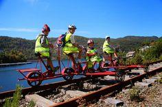 Rail bike adventures along the fjords in Flekkefjord Norway.  http://visit-southern-norway.blogspot.no/2014/07/rail-bike-adventure-in-flekkefjord.html