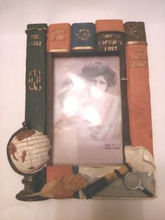 Picture Frame Looks Like VINTAGE BOOKS has Magnifying Glass, Globe etc. Motif #AntiqueStyle