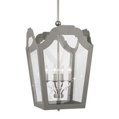 "Bulb Type: B, Candelabra Base Direct Wire Polished Nickel Finish  Shade Frame Painted Smoky Taupe Outside & Inside Clear Tempered Glass Shade Panels Susp. Hardware: 3-5/8"" x 12"" & 1-5/8"" x 6"" Extension Rods  Dimensions:  Small - 23-1/2""H x 15-1/4""W Large - 30""H x 19-3/4""W"