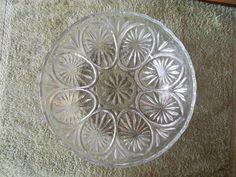 "Leaded Glass Dish Starburst Glass Bowl 1970s Vintage Leaded Glass Bowl One Large Bowl 8"" diameter"