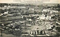 Vestiges de l'amphithéâtre de Saintes vue du clocher de Saint Eutrope
