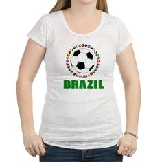 Brazil Soccer 2014 Womens Burnout Tee on CafePress.com