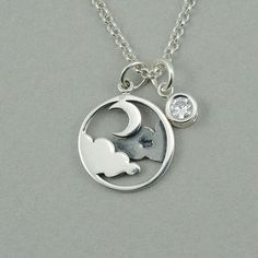 Cloud and Moon Necklace  sterling silver celestial by TheZenMuse