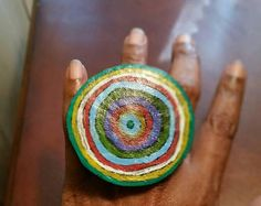Leather ring, painted design.