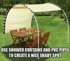 Shady spot made with show curtain