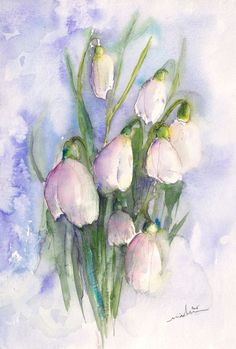 Purety 03 - Painting, 40x28 cm ©2015 by Miki de Goodaboom - Expressionism, Impressionism, Paper, Flower, flowers, floral, flower, bunch of flowers, snow bells, snow drops
