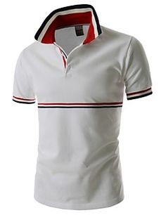 Trendy Fitted Turn-down Collar Stripes Splicing Color Block Short Sleeves Men's Polyester Polo T-Shirt Polo Tee Shirts, Short Sleeve Polo Shirts, T Shirt, Polo Shirt Design, Corporate Uniforms, Camisa Polo, Color Shorts, Shirt Style, Shirt Designs
