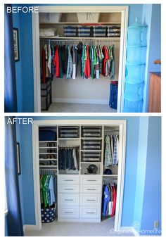 Tween Boy's Room Organized Closet Reveal - Organizing Homelife Organized Boy's Room Closet Before and After Small Room Bedroom, Closet Bedroom, Bedroom Decor, Boys Bedroom Ideas Toddler Small, Little Boy Bedroom Ideas, Trendy Bedroom, Bedroom Themes, Design Bedroom, Boys Room Decor