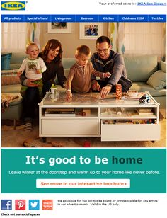 """IKEA - plugs interactive catalog; subject """"Get ideas for a cozy and organized home!"""" super subject """"Explore our interactive seasonal brochure to get started!"""" CT """"It's good to be home"""" lifestyle imagery slideshow"""