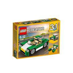 Kör en tur med öppet tak i denna coola gröna 3-i-1-cruiser!Kör med stil i denna smidiga gröna cruiser utan tak med en fräsch färgskala i grönt, vitt och svart, tonad vindruta, öppningsbart bagageutrymme fram och en bakre huv, detaljerad motor och en stor hytt för två minifigurer med detaljerad instrumentbräda och ratt. Denna LEGO® Creator 3-i-1-modell har en tredelad modulbaserad konstruktion som gör att den snabbt kan byggas om till en snabb båt eller en lastbil.Setet innehåller över 120…