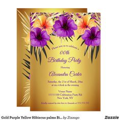 Shop Gold Purple Yellow Hibiscus palms Birthday Party Invitation created by Zizzago.