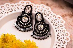 Fancy silver black soutache stud earrings gift for her by nikuske on Etsy