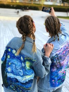 Hand painted denim jacket Claude Monet Water Lilies impressionism ( read the description)