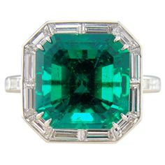 Columbian Emerald & Baguette Cut Diamond Platinum Ring