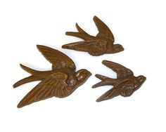 Vintage 1980s Burwood Products Swallows Birds Wall Hangings