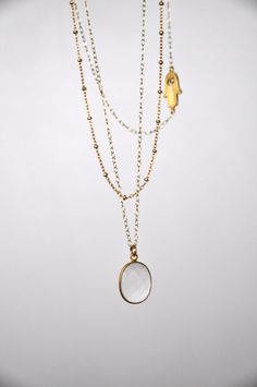 a23d2a8f043a Set of 3 Layering Necklaces, 14K Gold Filled, Sideways Hamsa, Crystal  Pendant, Satellite Chain