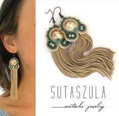 Soutache jewelry: earrings, necklaces and bracelets by sutaszula Long Tassel Earrings, Soutache Earrings, Tassel Jewelry, Diy Earrings, Unique Earrings, Clip On Earrings, Beaded Jewelry, Green Earrings, Stud Earrings