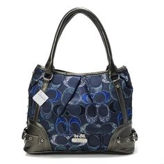 Look Here! Coach Poppy In Signature Medium Navy Totes AEH Outlet Online