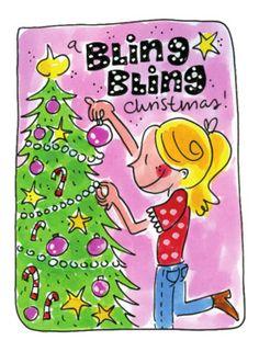 Meisje versiert met bling bling de kerstboom- Greetz