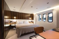 Interior & exterior photos of CLOUDBREAK, the Abeking & Rasmussen mega yacht, designed by Espen Oeino with an interior by Christian Liaigre. Christian Liaigre, Yacht Interior, Super Yachts, Motor Yacht, Interior And Exterior, Luxury, Bed, Furniture, Interiors