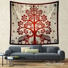 Beautiful Elephant Mandala screen printed tapestries bed cover from India Add an ethnic feel to your room with this cotton handmade wall hanging from handicrunch.