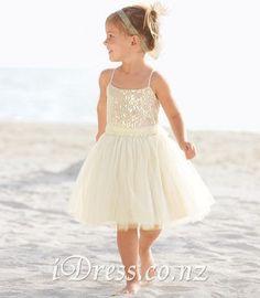 sparkly beach spaghetti strap sequin bodice short children flower girl dress