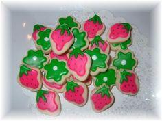 Strawberry Shortcake cookies (3 dzn)  strawberry shortcake cookies Made to match the new Strawberry shortcake colors, wonderful party addition.  3 dozen $16.75