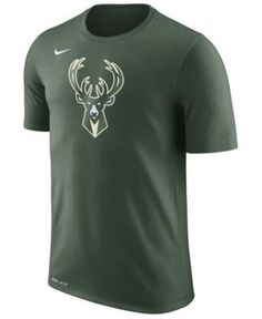 Nike Men's Milwaukee Bucks Dri-fit Cotton Logo T-Shirt - Green XXL
