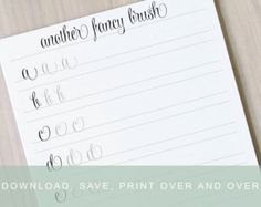 Brush lettering worksheets lower with swashes calligraphy