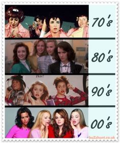 70s, 80s, 90s and 2000s. LOL Awesome! Ive seen all of these:) Grease, Heathers, Clueless and Mean Girls