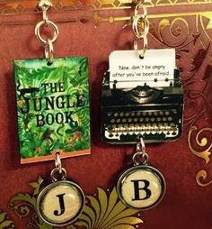 The Jungle Book Typewriter Book Earrings