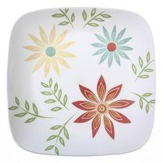 Corelle® Square™ Happy Days Dinner Plate - World Kitchen Corelle Plates, Corelle Dishes, Dinner Plate Sets, Dinner Plates, Dinner Sets, Corelle Dinner Set, Corelle Patterns, Clean Plates, Porcelain Mugs