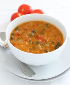 Chorizo Tomato Lentil and Kale Soup. I love the smell of this soup which permeates our kitchen and house when the chorizo is releasing its juices. And as for the taste well I just think it is a complete taste sensation! Quick Healthy Lunch, Healthy Soup, Healthy Recipes, Healthy Meals, Healthy Life, Healthy Eating, Chorizo Recipes, Soup Recipes, Cooking Recipes