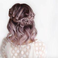 Metallic lavender half-up by Alanna Durkovich