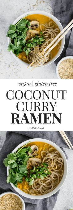Coconut Curry Ramen Noodle Soup is a creamy, warming way to welcome Spring. With tender leeks and mushrooms in a creamy curry spiced broth, this is one healthy, easy dinner you don't want to miss! Vegan and gluten free, paleo option, and ready in less than 30 minutes!