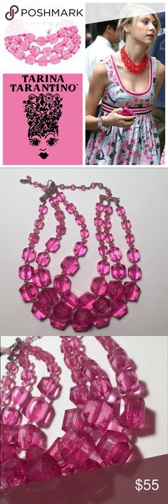 Tarina Tarantino Three Row Lucite Choker Authentic Tarina Tarantino three row lucite choker necklace in hot pink. In good used condition, rhinestones and extender chain all intact. Beads are all intact and undamaged, only signs of normal, gentle wear can be seen when inspected closely, as is typical with lucite. Tarina Tarantino Jewelry Necklaces