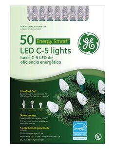 "$15.58-$16.99 GE50CT WHT C5 LED Set - GE, 50 Count, Warm White, Watt Miser LED C5 Crystal Ice Light Set, 6"" Lead Wire, 4"" Lamp Spacing, 6"" End Connector Plug, 16.3' Lighted Length, 17.3' Total Set Length, Green Cord Set With Fused Plug, Color Box Window With PVC Window. http://www.amazon.com/dp/B002JG2RVI/?tag=pin2wine-20"