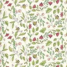 Painted Meadow Bee's Cream Fabric by Robin Pickens is perfect for quilting! It has foliage and flowers with cute bees combined. All on cream background. Bee Fabric, Beautiful Soup, Cute Bee, Block Of The Month, Bees Knees, Quilt Top, Fabric Painting, Robin, Sewing Projects